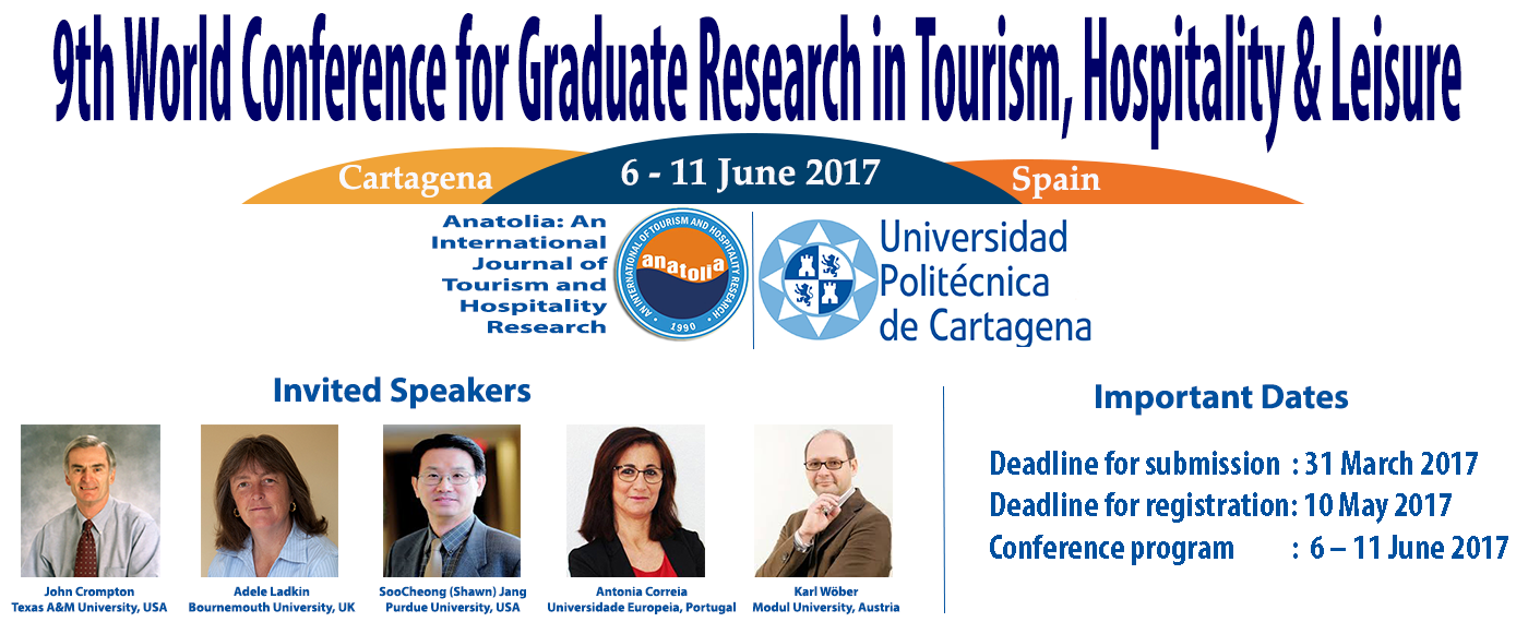 9TH WORLD CONFERENCE FOR GRADUATE RESEARCH IN TOURISM HOSPITALITY & LEISURE