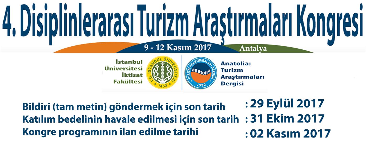 4. Disiplinlerarası Turizm Araştırmaları Kongresi