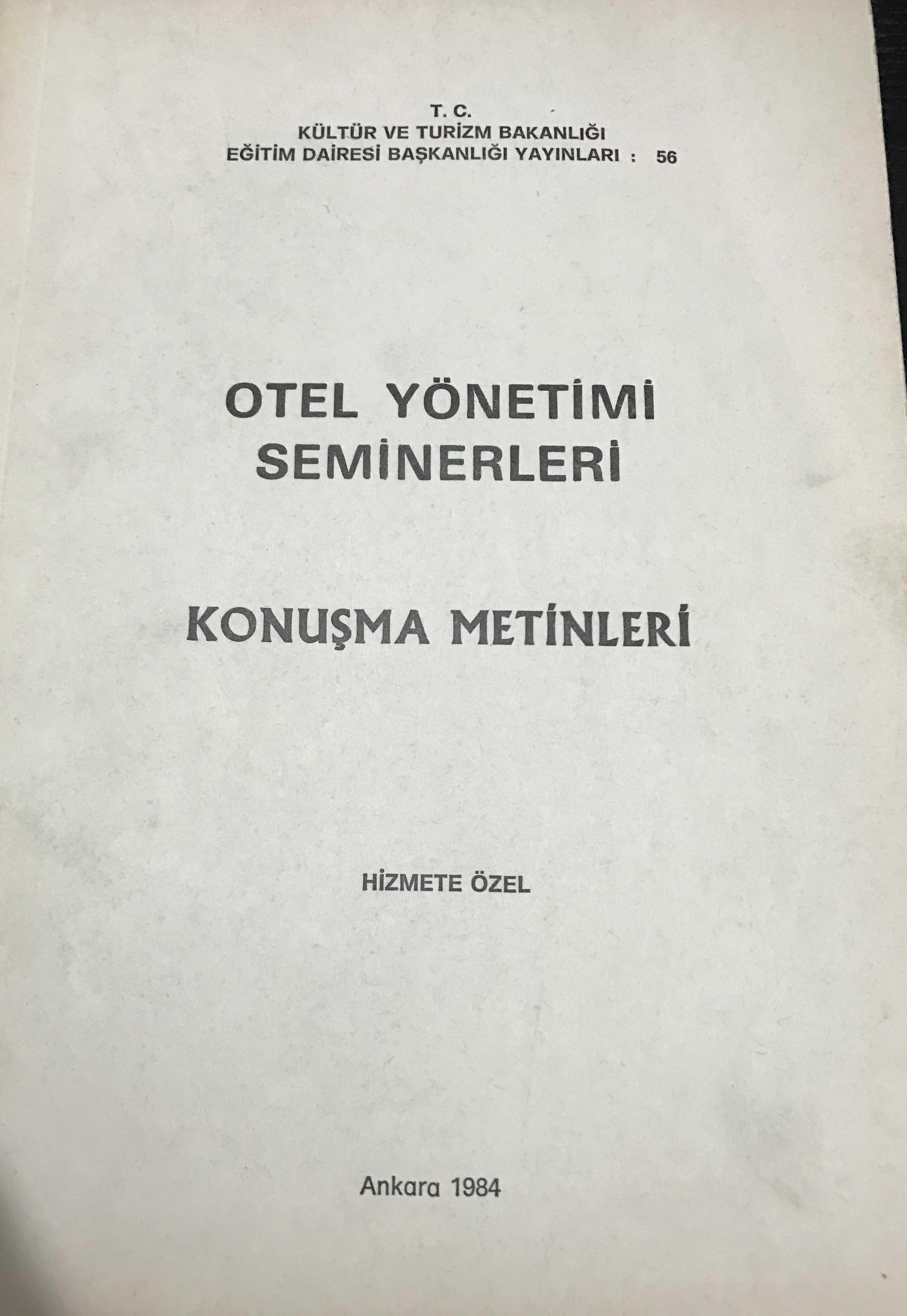 Otel Yönetim Seminerleri Konuşma Metinleri Kitap Kapağı