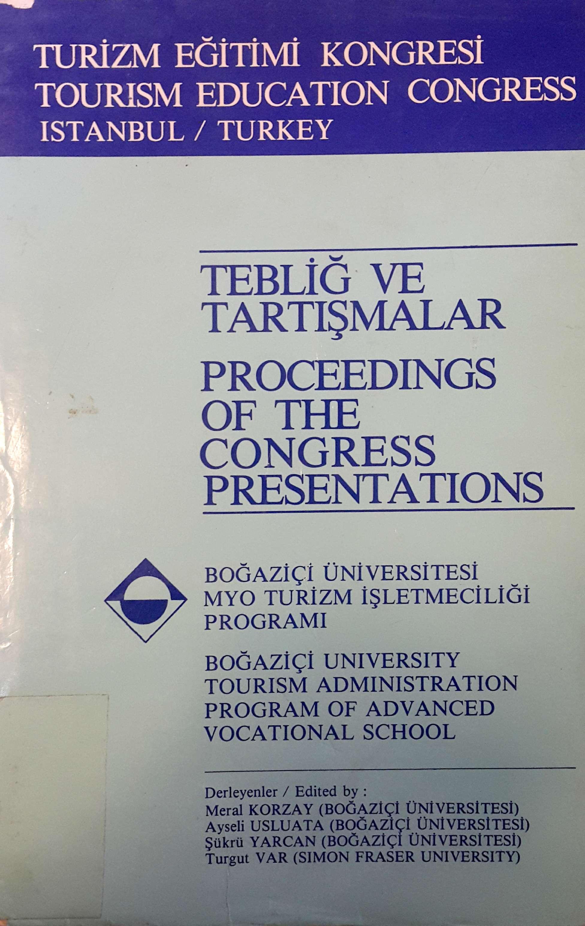 Turizm Eğitimi Kongresi 1984 Kitap Kapağı