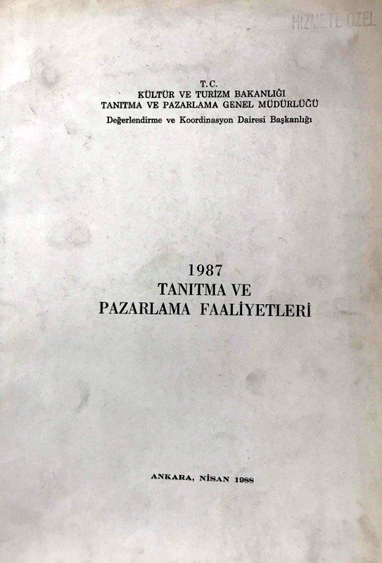 1987 Tanıtma ve Pazarlama Faaliyetleri Kitap Kapağı