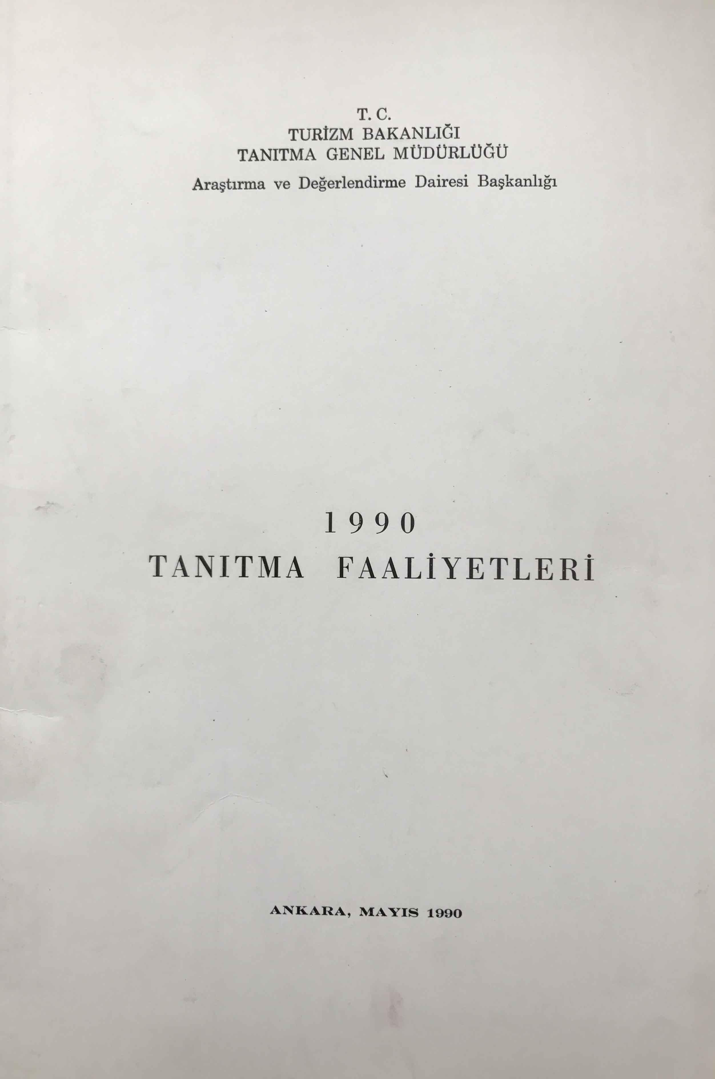 1990 Tanıtma Faaliyetleri Kitap Kapağı