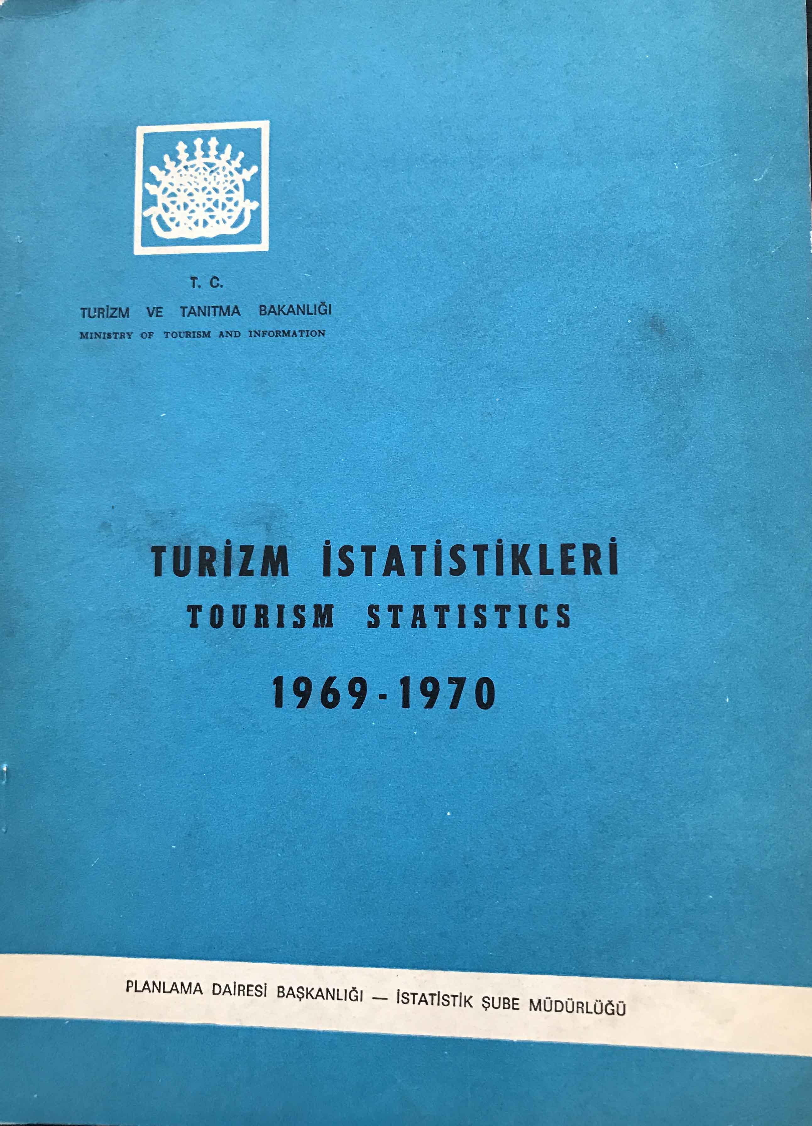 Turizm İstatistikleri 1969-1970 Kitap Kapağı