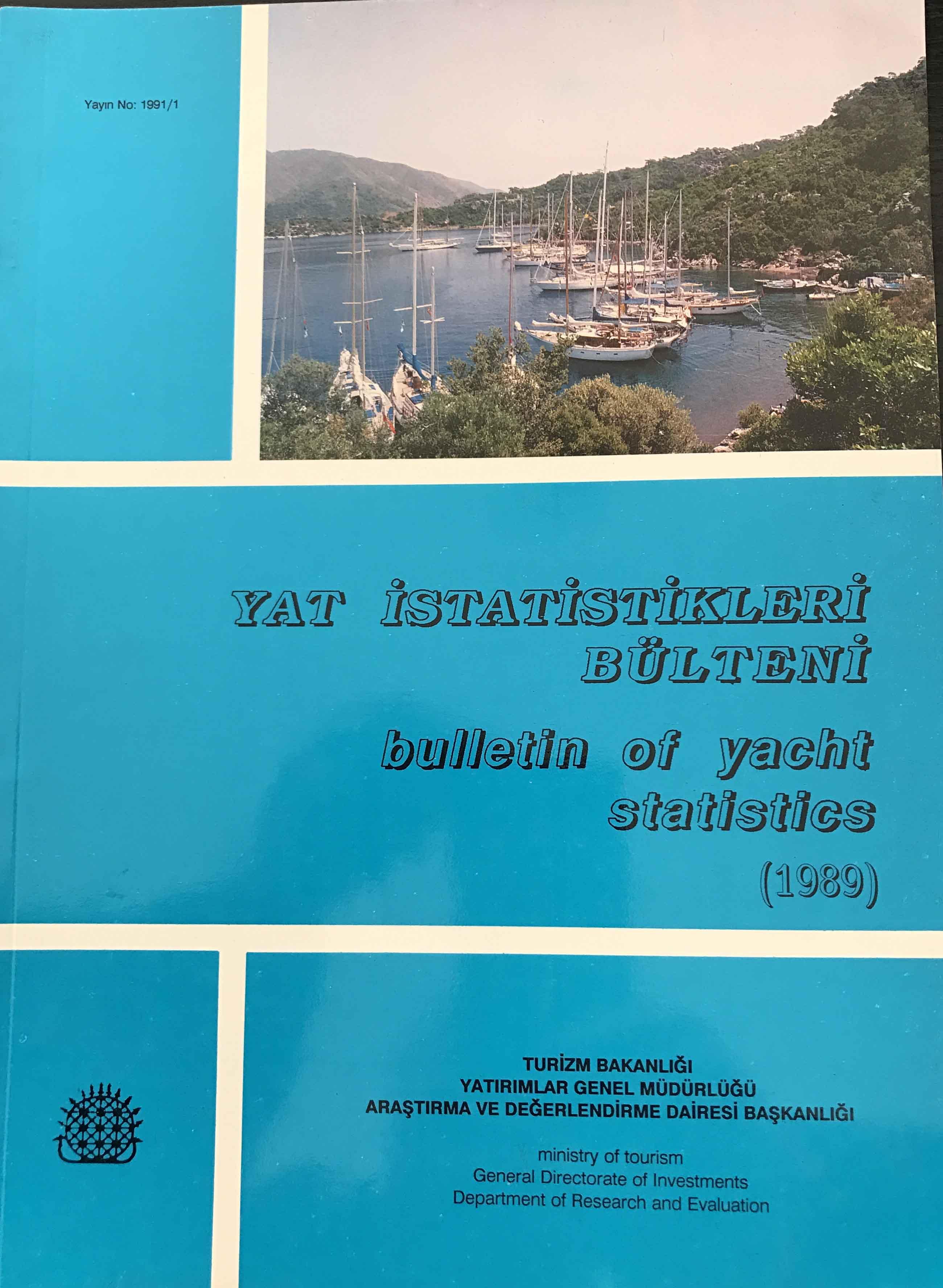 Yat İstatistikleri Bülteni 1989 Kitap Kapağı