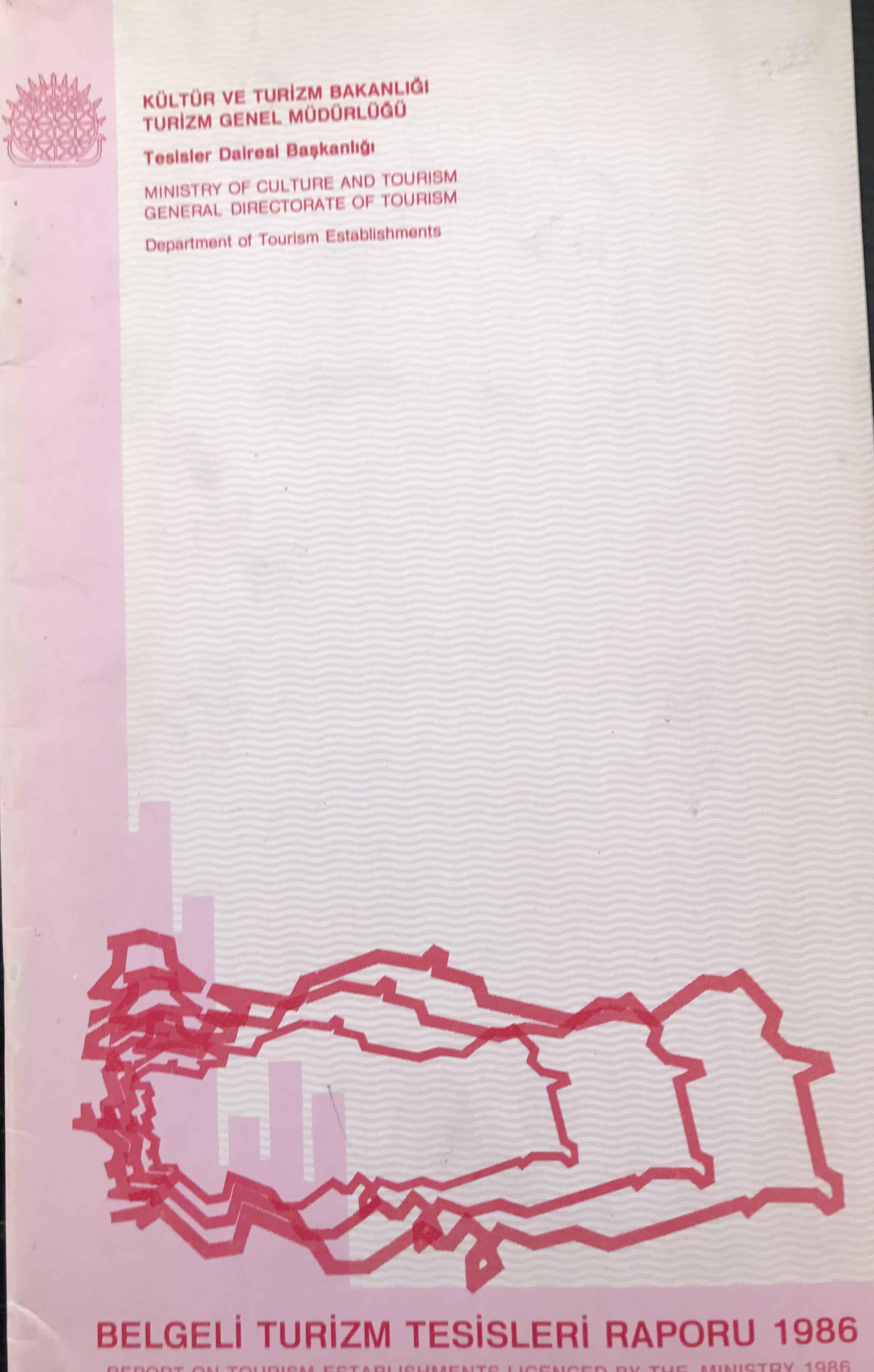 Belgeli Turizm Tesisleri Raporu 1986 Kitap Kapağı