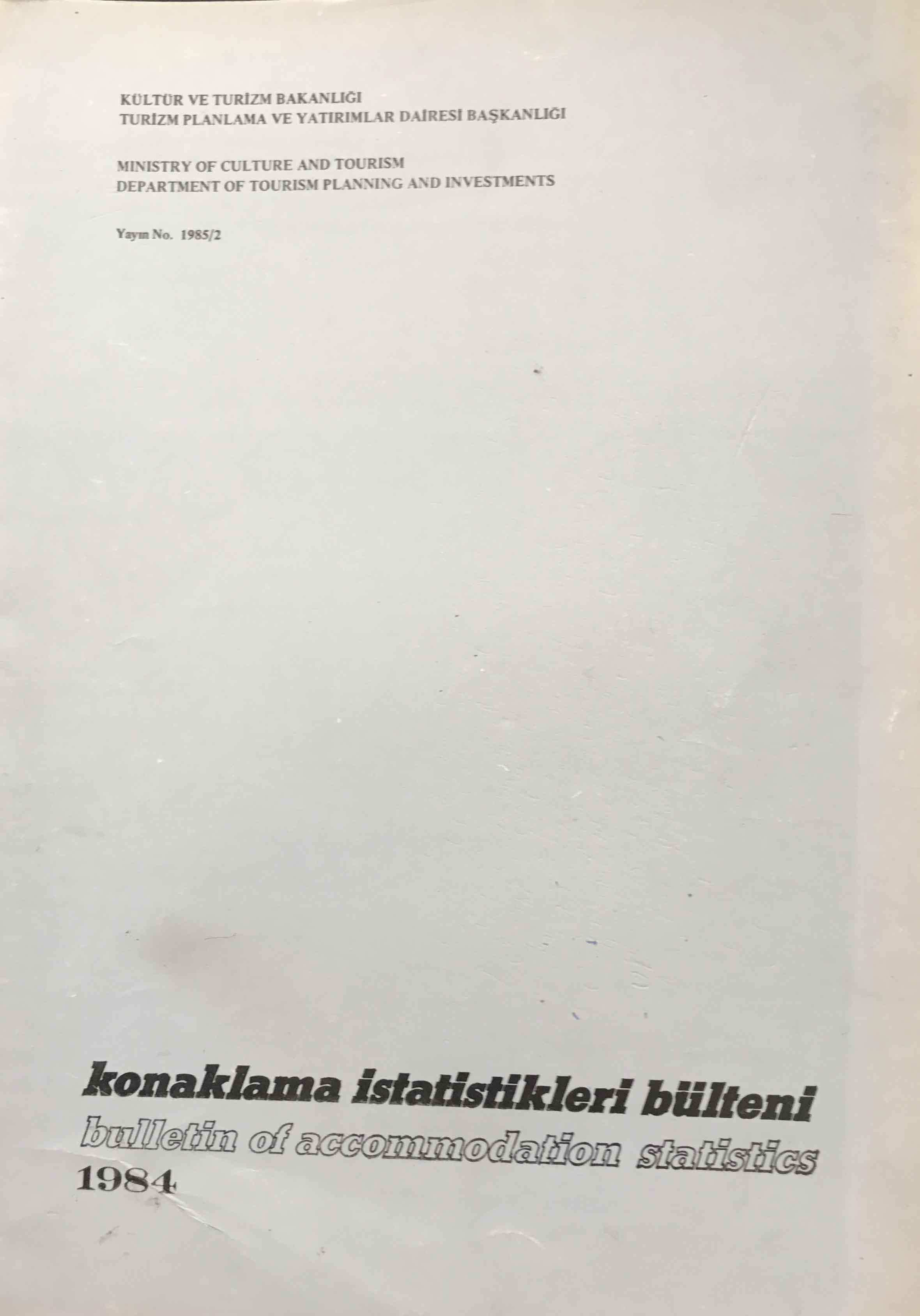 Konaklama İstatistikleri Bülteni 1984 Kitap Kapağı