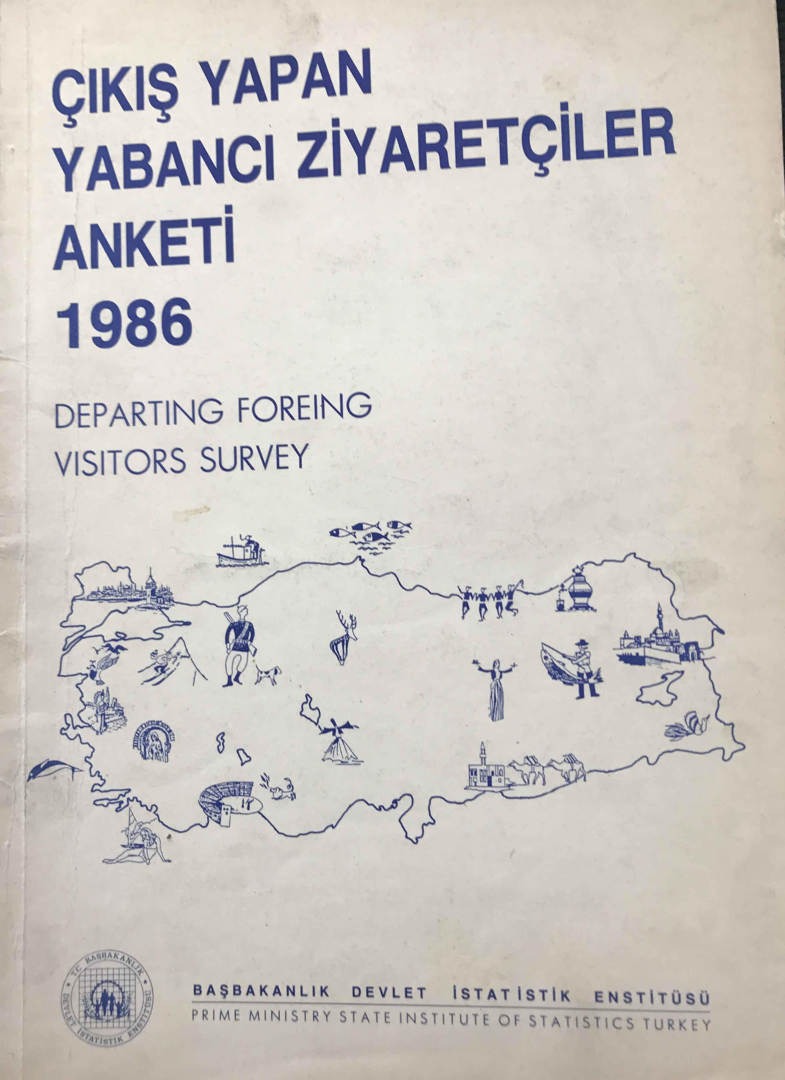 Çıkış Yapan Yabancı Ziyaretçiler Anketi 1986 Kitap Kapağı