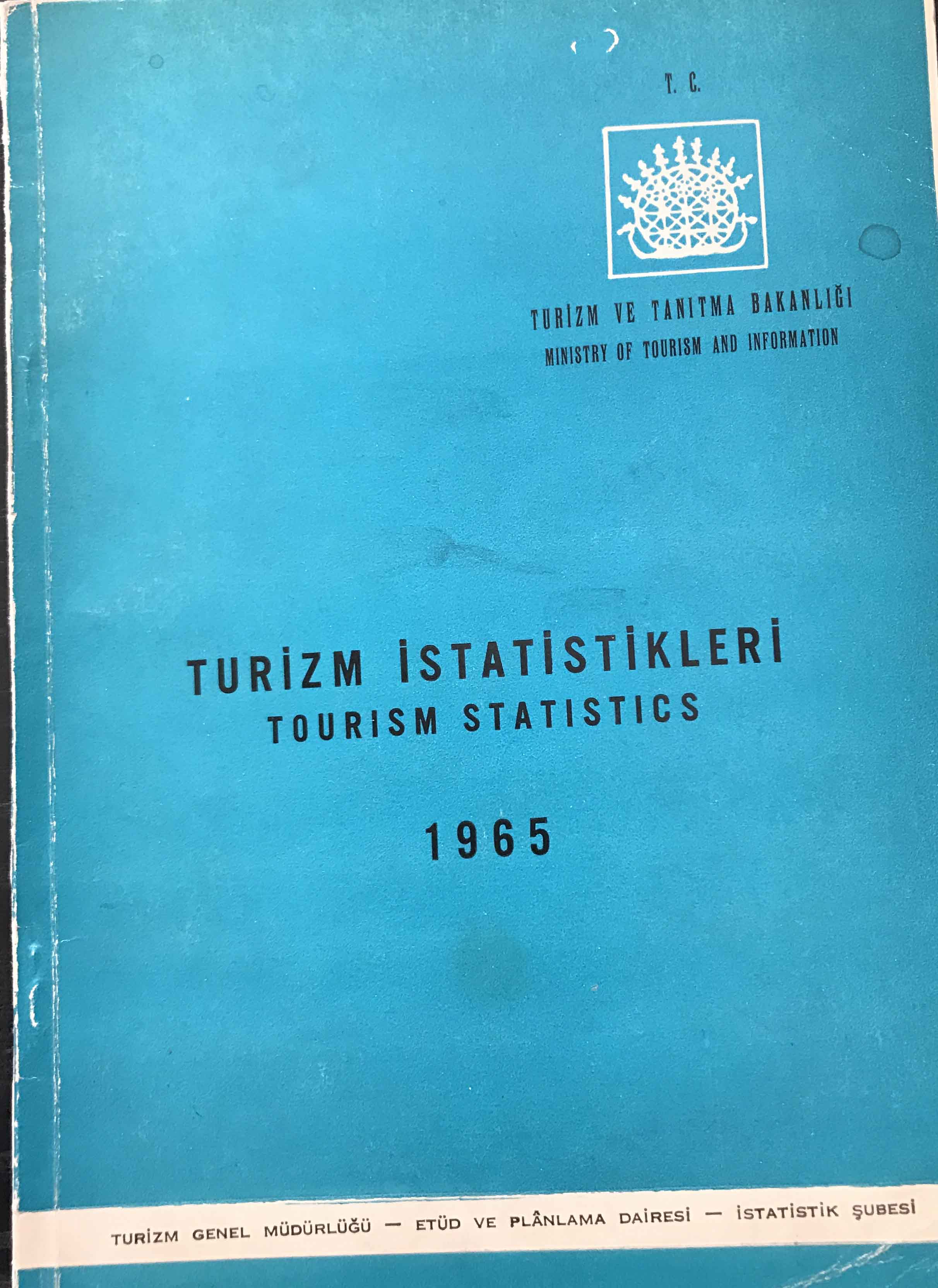 Turizm İstatistikleri 1965 Kitap Kapağı