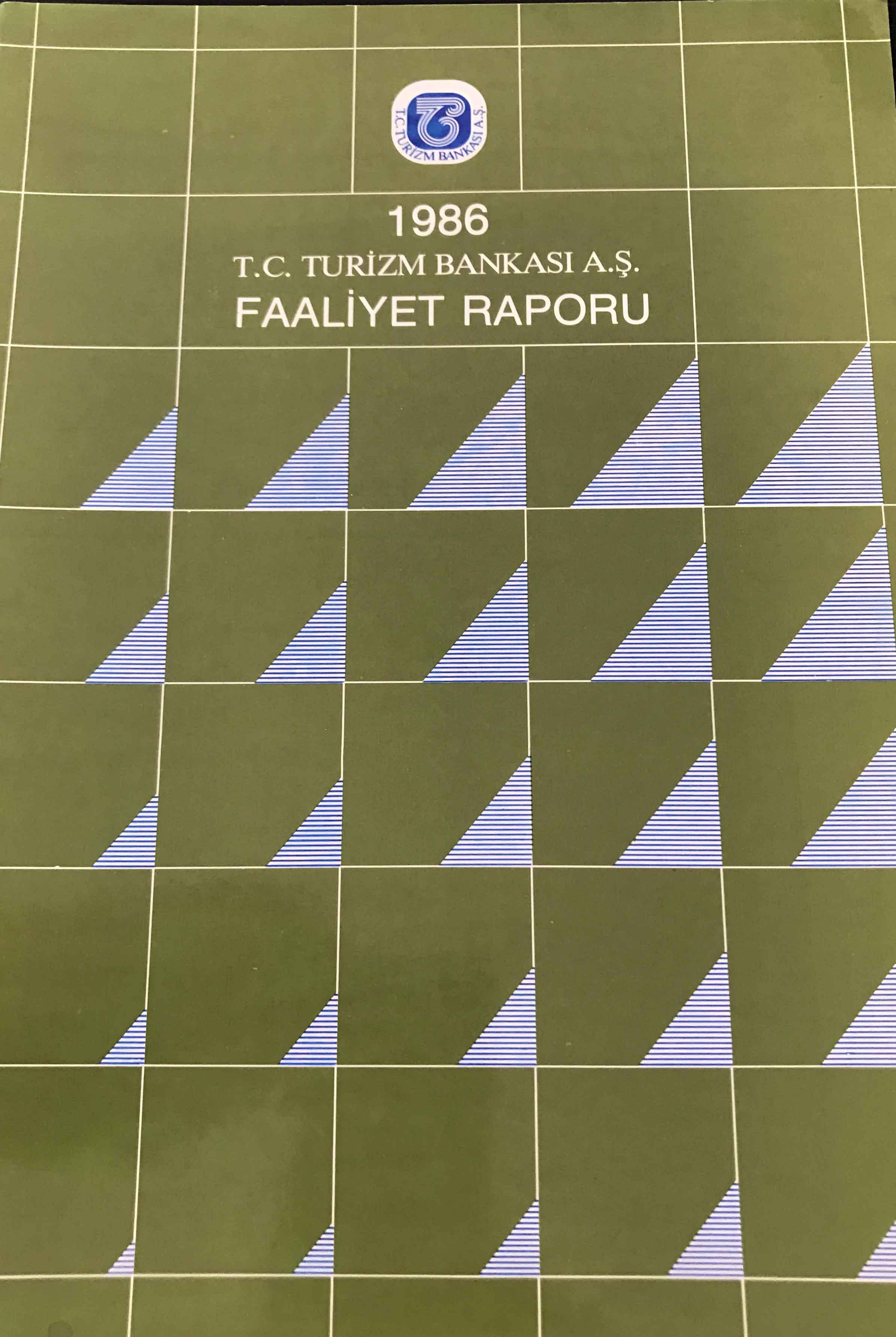T. C. Turizm Bankası A.Ş. Faaliyet Raporu 1986 Kitap Kapağı