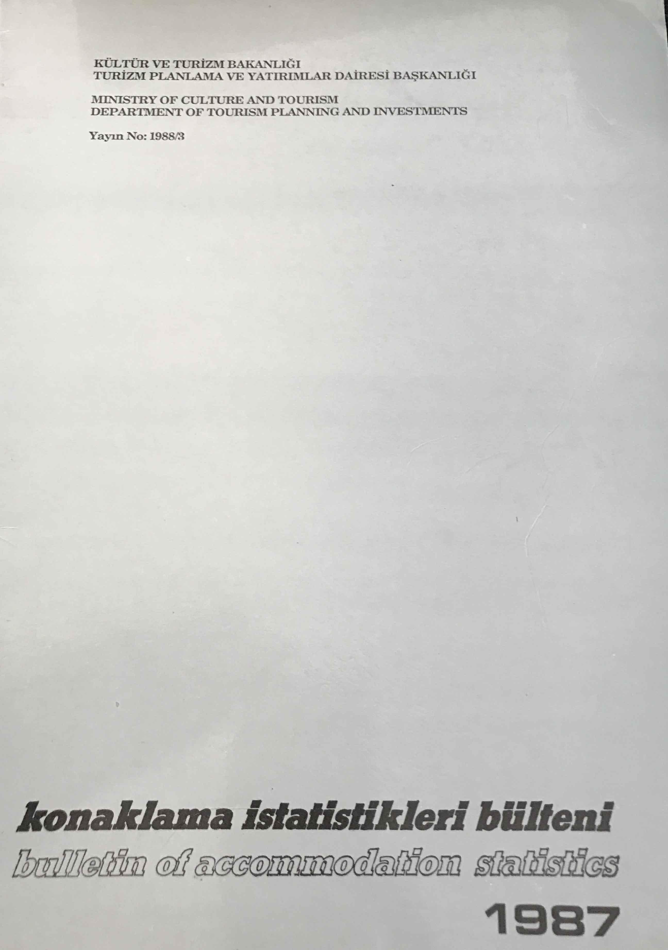 Konaklama İstatistikleri Bülteni 1987 Kitap Kapağı