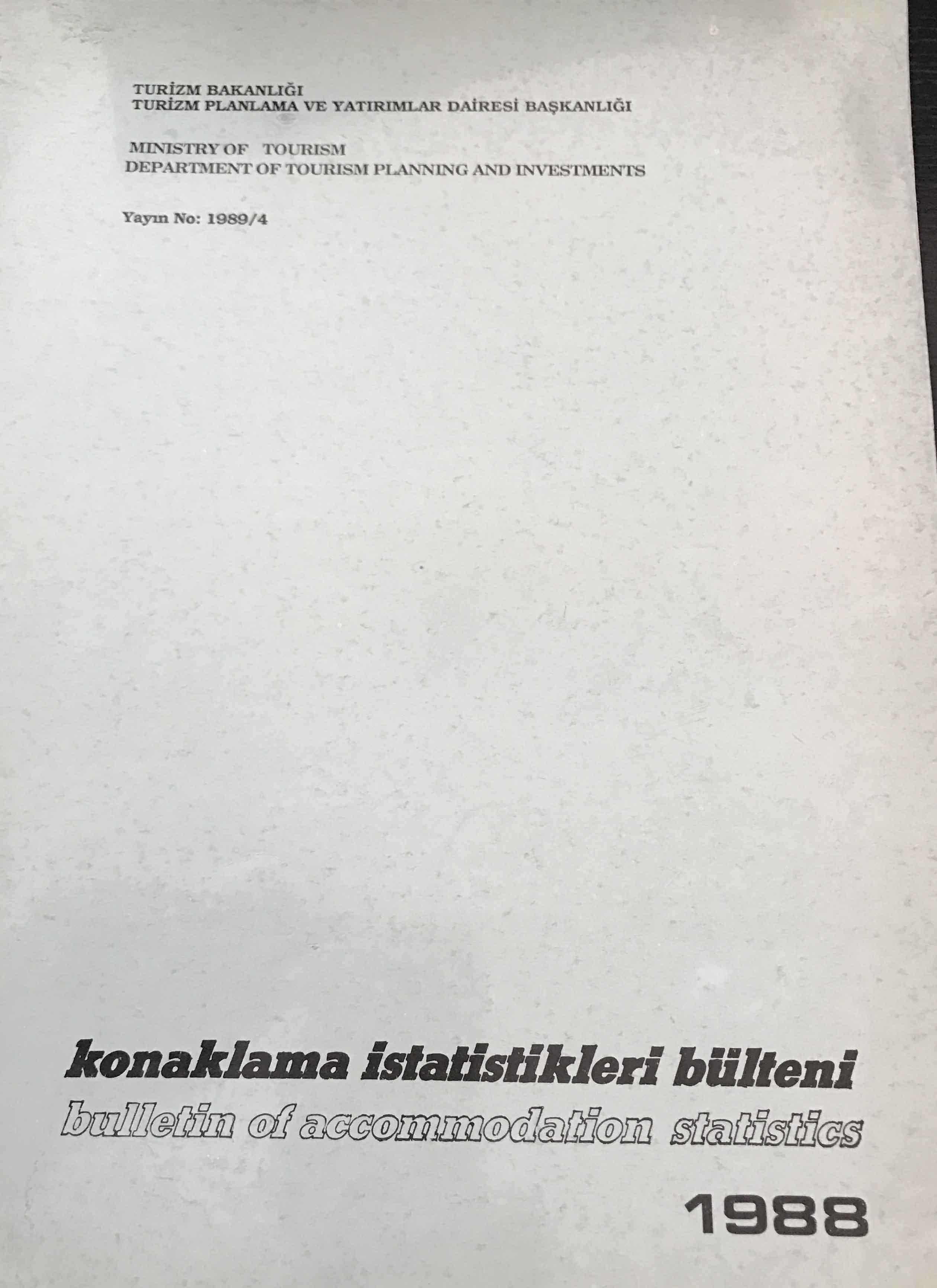 Konaklama İstatistikleri Bülteni 1988 Kitap Kapağı