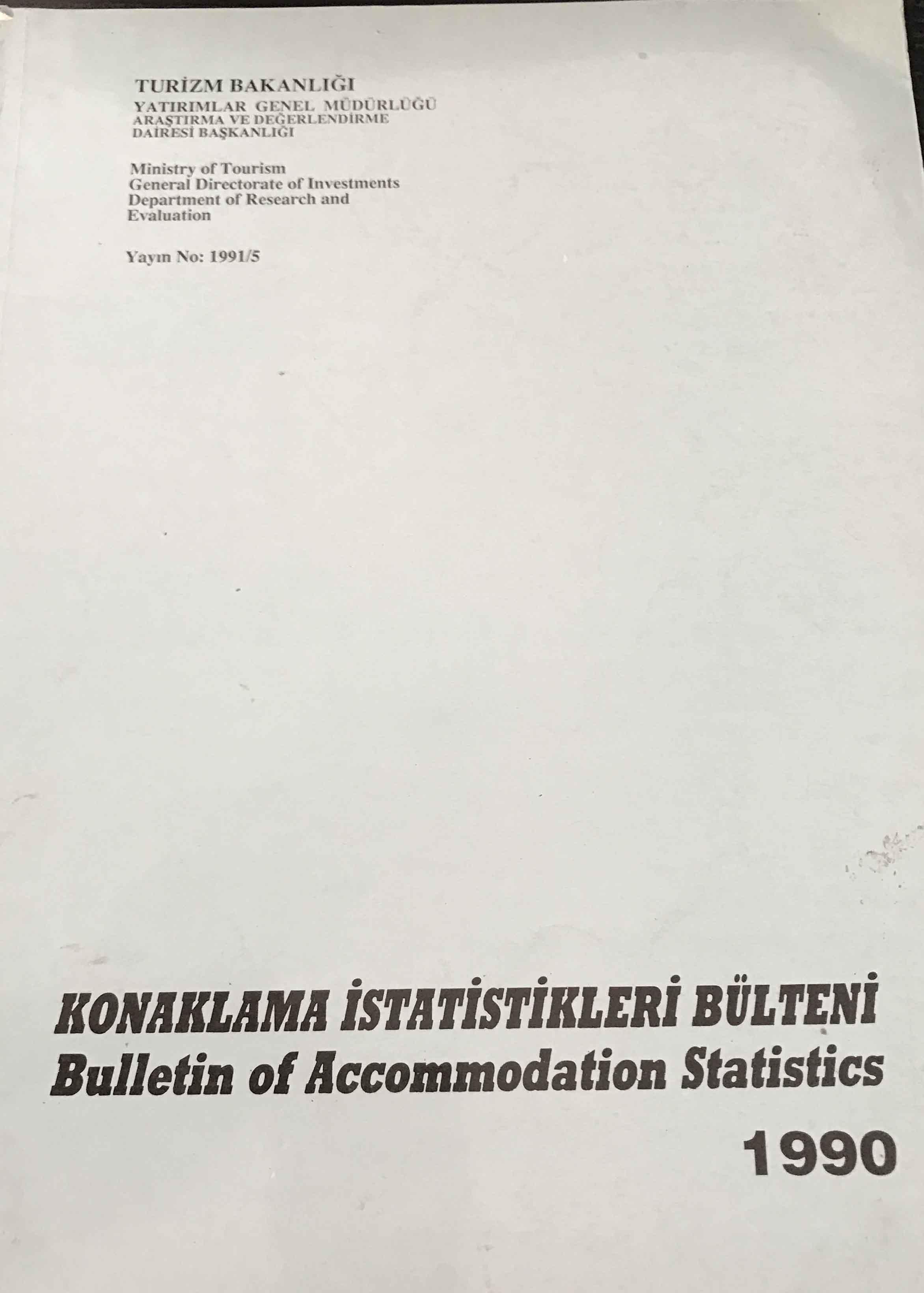 Konaklama İstatistikleri Bülteni 1990 Kitap Kapağı