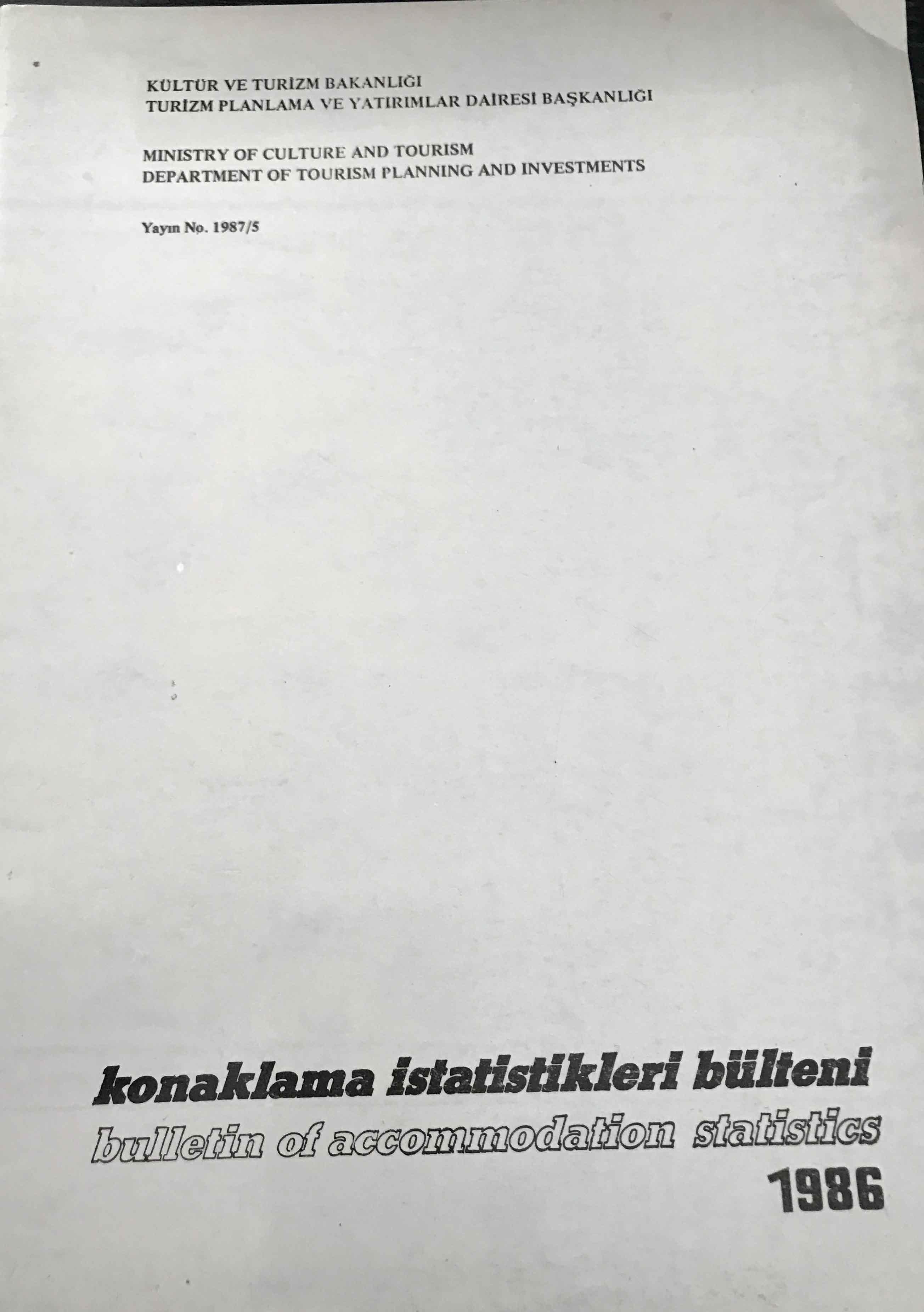 Konaklama İstatistikleri Bülteni 1986 Kitap Kapağı