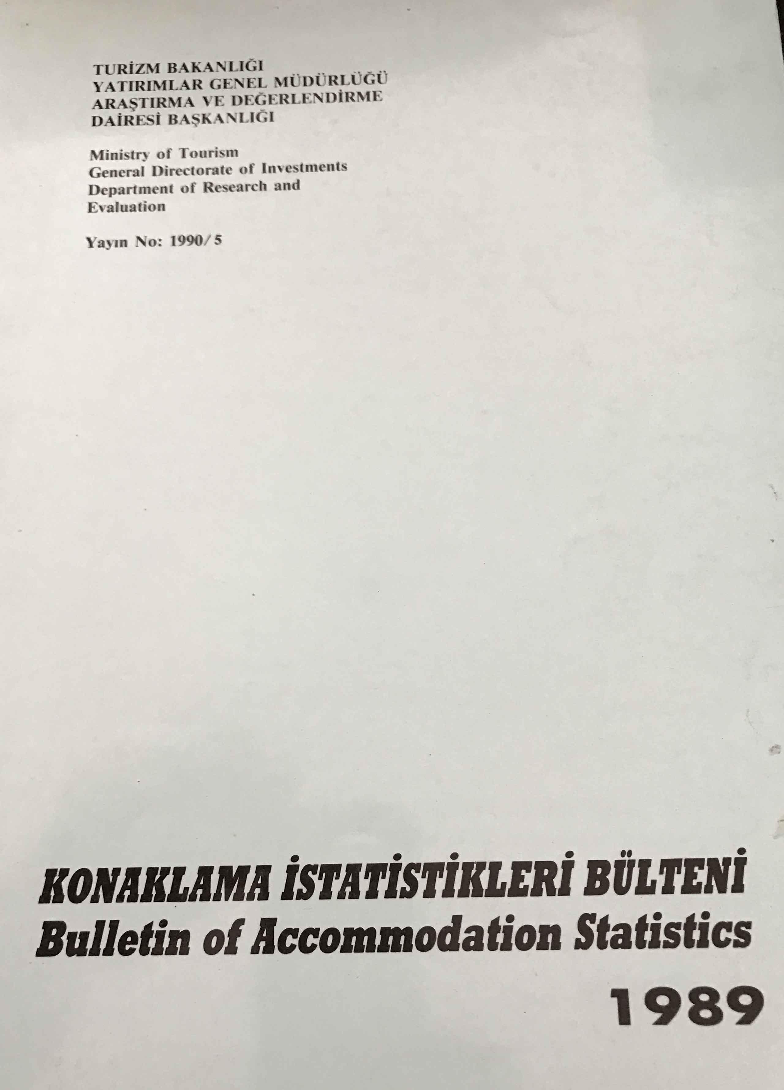 Konaklama İstatistikleri Bülteni 1989 Kitap Kapağı