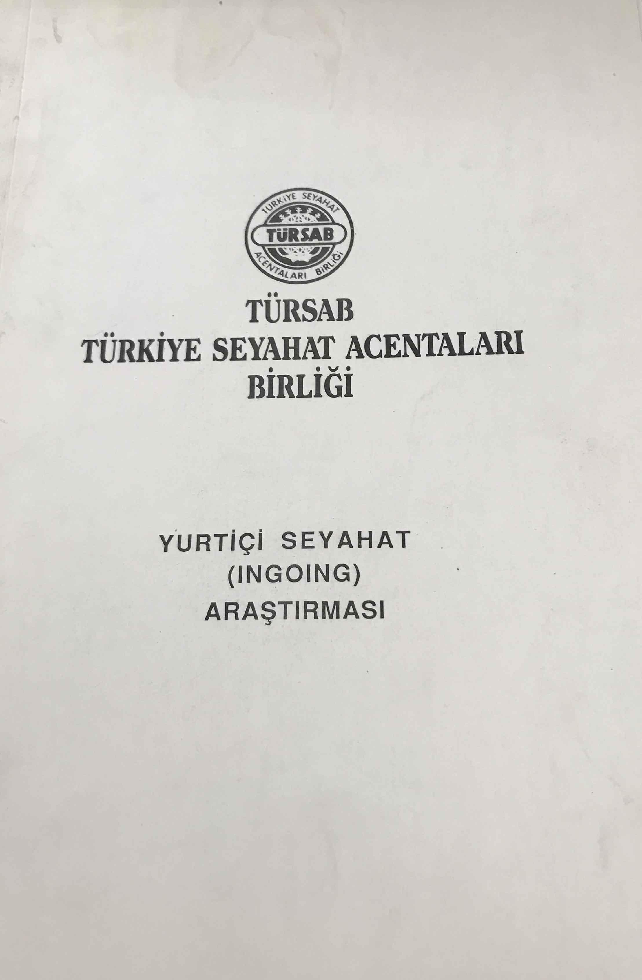 Yurtiçi Seyahat (Ingoing) Araştırması Kitap Kapağı