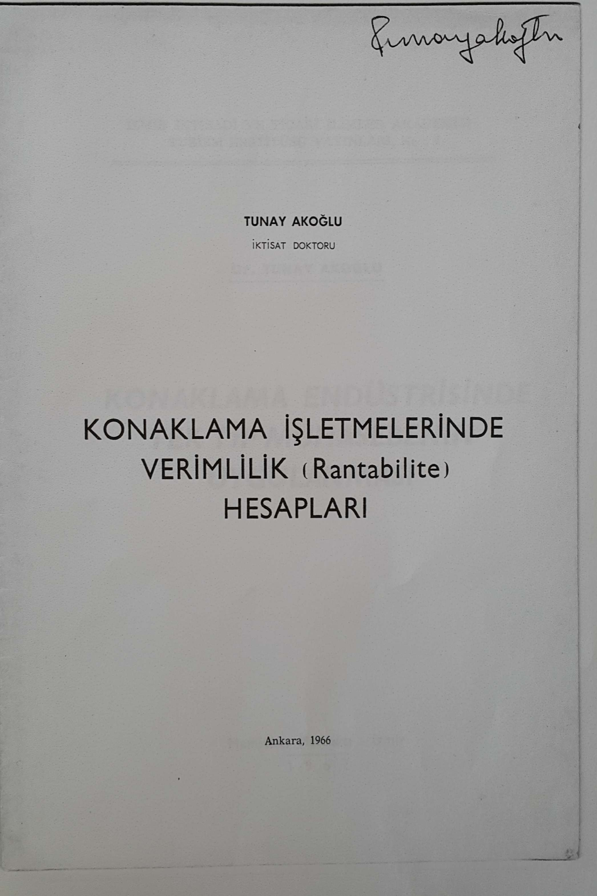Konaklama İşletmelerinde Verimlilik (Rantabilite) Hesapları Kitap Kapağı