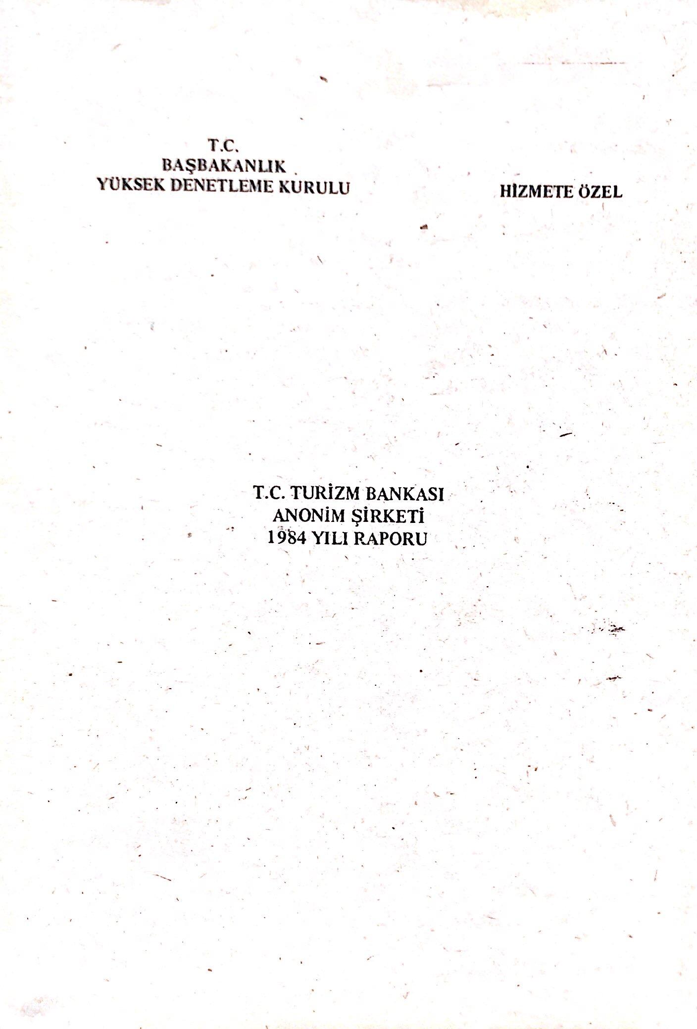 T.C. Turizm Bankası Anonim Şirketi 1984 Yılı Raporu Kitap Kapağı
