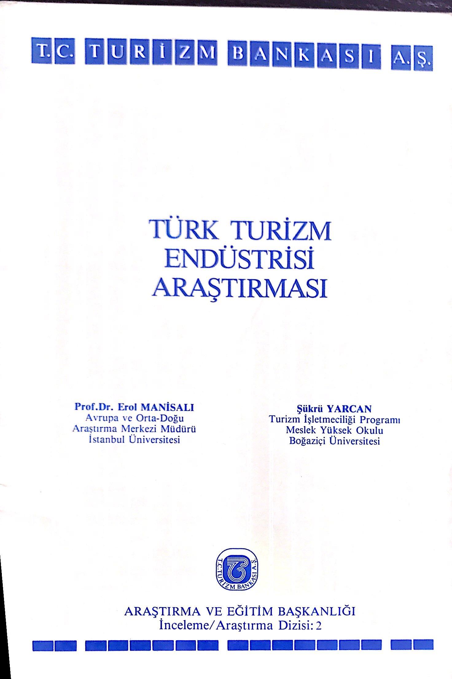 Türk Turizm Endüstrisi Araştırması Kitap Kapağı