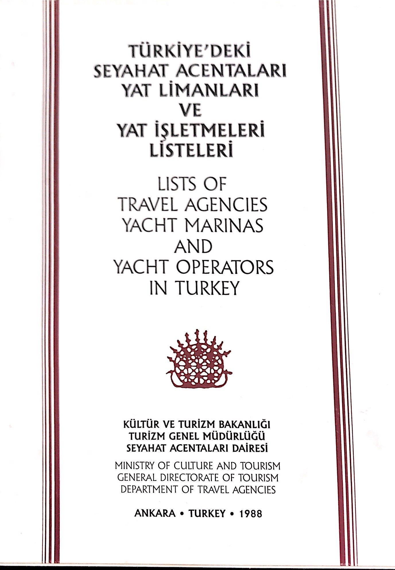 Türkiye'deki Seyahat Acentaları, Yat Limanları ve Yat İşletmeleri Listeleri Kitap Kapağı