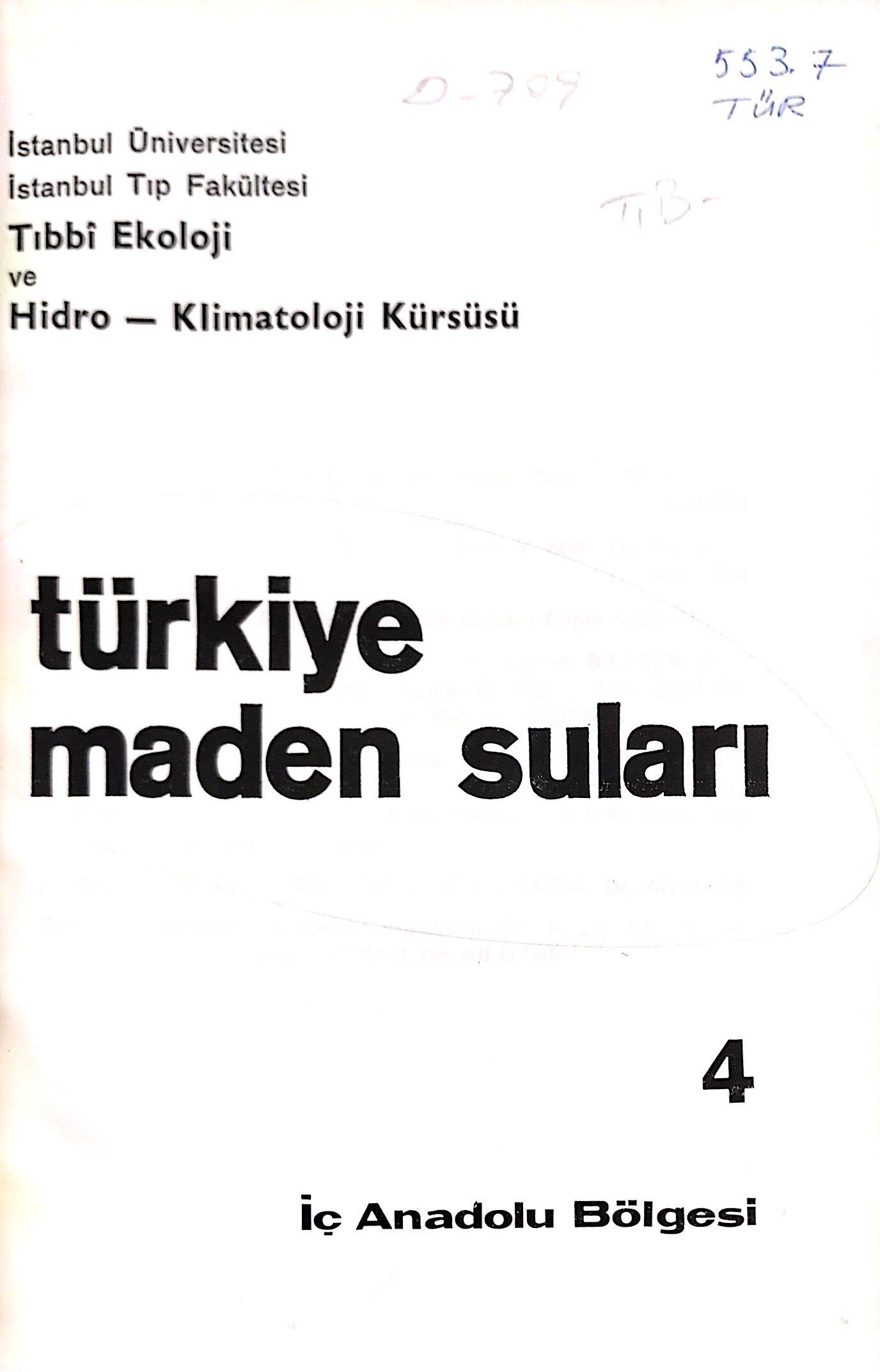 Türkiye Maden Suları, 4: İç Anadolu Bölgesi Kitap Kapağı