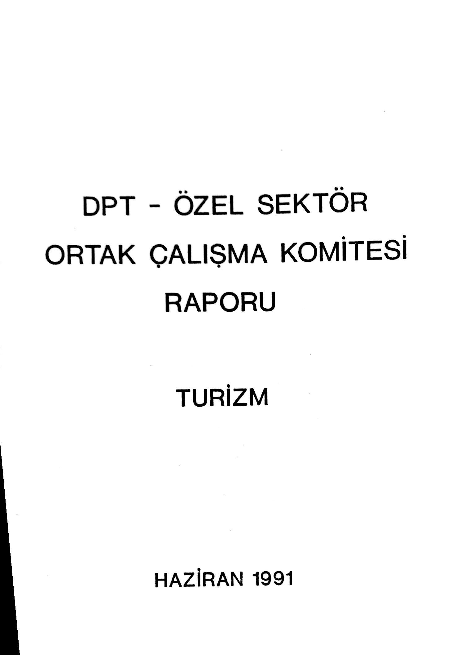 DPT-Özel Sektör Ortak Çalışma Komitesi Raporu (Turizm) Kitap Kapağı